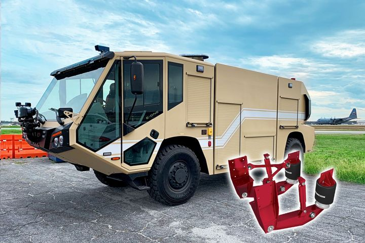 Hendrickson Truck Commercial Vehicle Systems and E-One have started delivering the newly designed E-One Titan 4×4 Air Transportable (AT) ARFF P-19C vehicle equipped with Hendrickson's Long Travel Trailing Arm Suspension to the United States Air Force. - Photo: Hendrickson