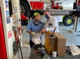 Long Beach technicians and staff members must wearmasks when working together.