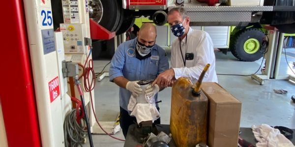 Long Beach technicians and staff members must wear masks when working together.