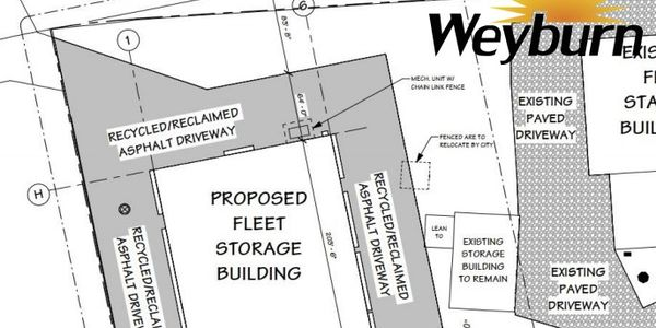 Plans for the proposed fleet storage building found in the June 22 council agenda.