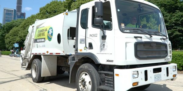 The pilot B100 program cuts carbon emissions from refuse vehicles by 84%.