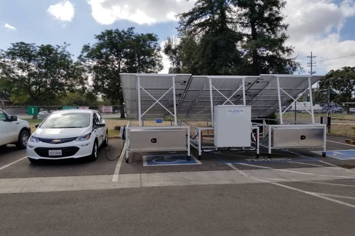 The department has already built their own solar charger (seen here), and recently received almost $900,000 worth of grant money to build a solar charger for the local hospital with a backup generator. -