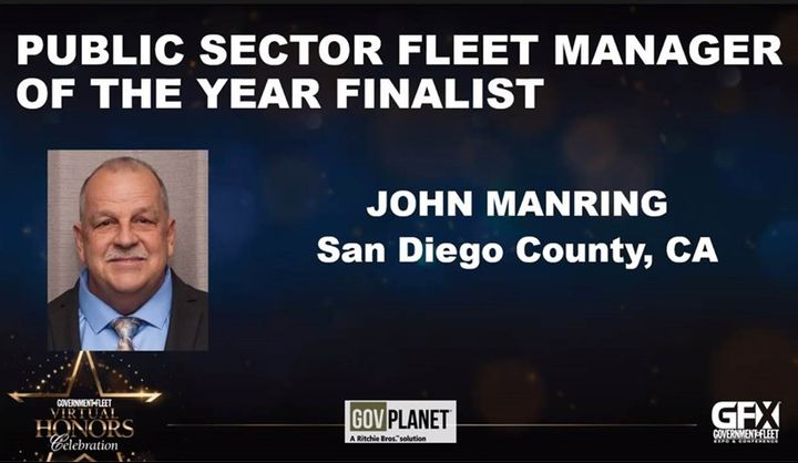 Manring was selected as a Public Sector Fleet Manager of the Year Finalist for 2020. -