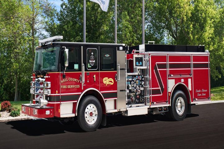 Hall County Fire Services in Ga. has ordered eight Enforcer Pumpers and one Ascendant 107' Heavy-Duty Aerial Ladder. - Photo: Pierce