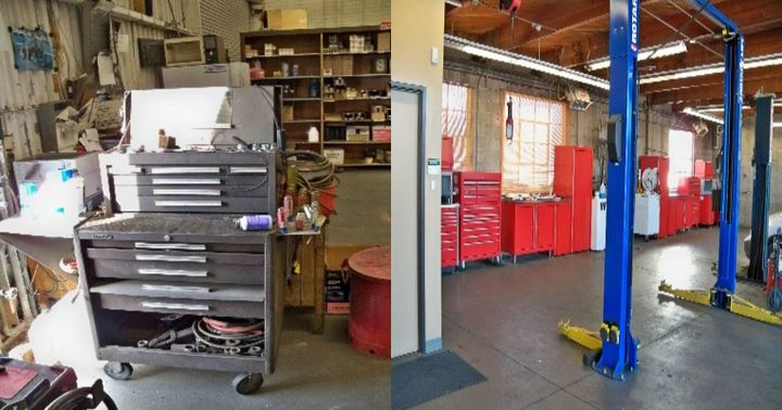 (l to r) atypical old tool box versus new tool boxes with work station -