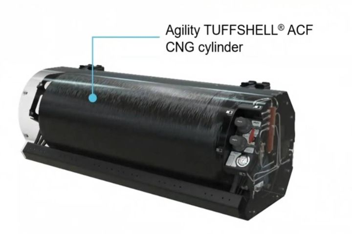 The ProRail is built around Agility's carbon fiber composite tough shell Type 4 CNG cylinders. - Photo: Agility digital press conference screen shot