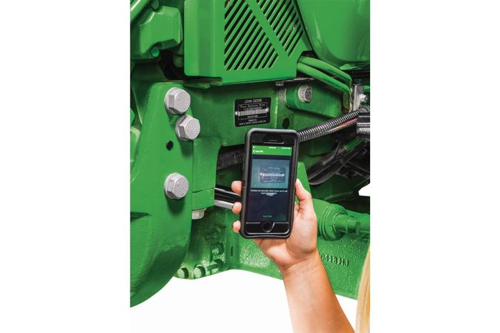 The app provides easy access to tractor information, like service intervals, diagnostic codes, fuel level, engine hours, and maintenance information. - Photo: John Deere