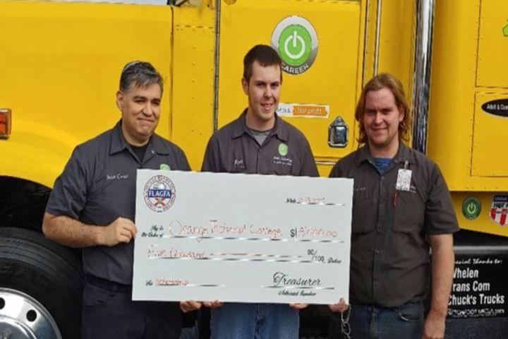 Juan Burgos, Ryan Webb, and Brandon Christie split the $5,000 FLAGFA scholarship at Orange Technical College. - Photo: FLAGFA