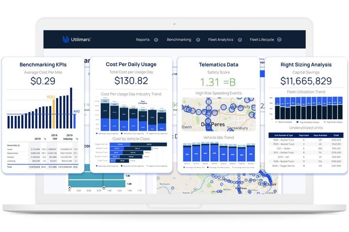 The platform supports a variety of third-party data integrations such as fleet management systems, telematics, fuel cards, drive cameras, and ERP software. - Photo: Utilimarc