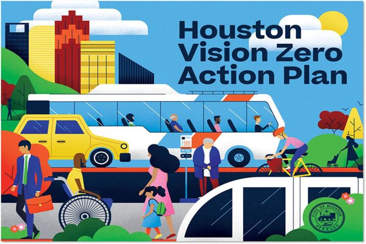 Joined by representatives from the City of Houston Planning Department, Public Works, Mayor's Office of Disabilities, and the Houston Police Department, Mayor Turner wants to end traffic deaths and serious injuries by 2030. - Photo: City of Houston
