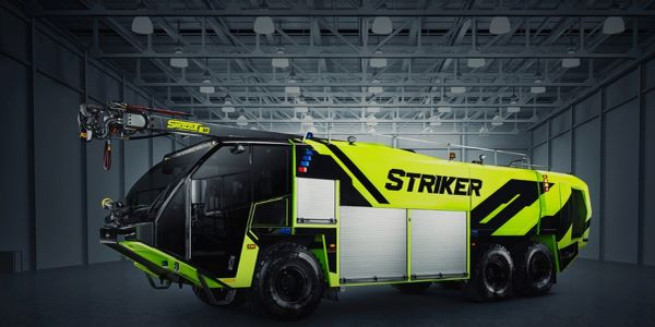 The Oshkosh Striker ARFF's cockpit featuresspacious cab seating for up to five firefighters.