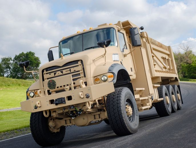 U.S. Army M917A3 Heavy Dump Trucks feature significantly improved extreme cold weather startabililty and performance. - Photo: Mack Defense