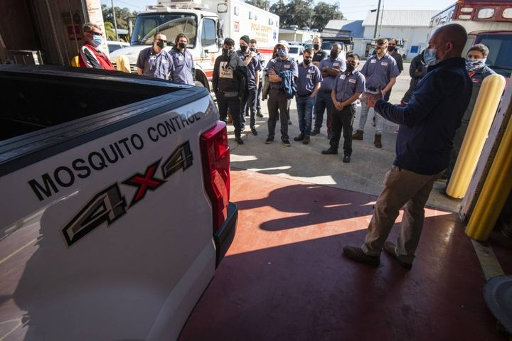 Fleet Management Director Robert Biller showed studentsall the different operations that go on at Central Fleet and walked them through the stages of repair and maintenance procedures. - Photo:Polk County Fleet Department
