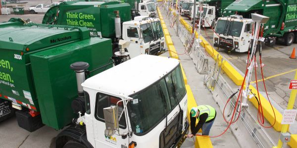 One grant will be used for the replacement of a diesel refuse hauler with an all-electric one...