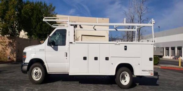 The ZEUS 500 electric service truck is built on a Ford E-450 chassis with a Knapheide service...