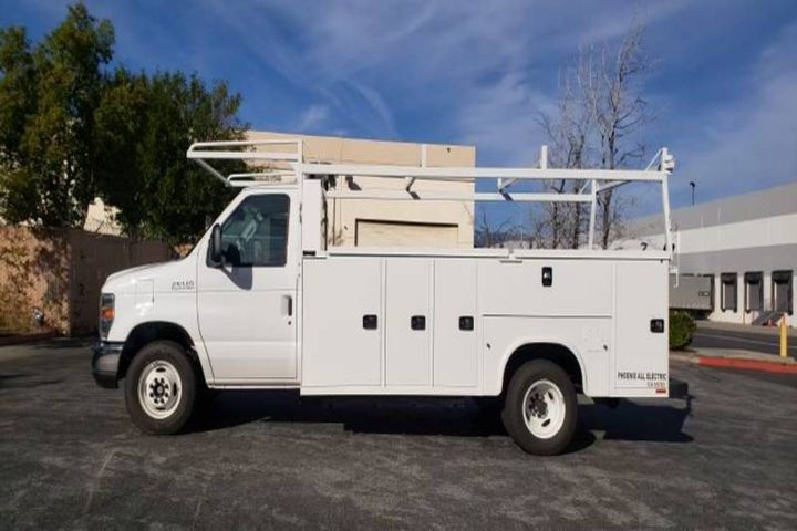 The ZEUS 500 electric service truck is built on a Ford E-450 chassis with a Knapheide service body and comes fitted with customized configurations to maximize functionality for the City of Woodland, California. - Photo: Phoenix Motorcars