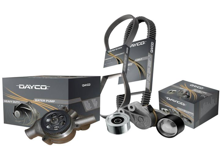 New part numbers for raw-edge v-belts, industrial belts, water pumps, pulleys, and tensioners are now available for large machines and off-highway vehicles. - Photo: Dayco