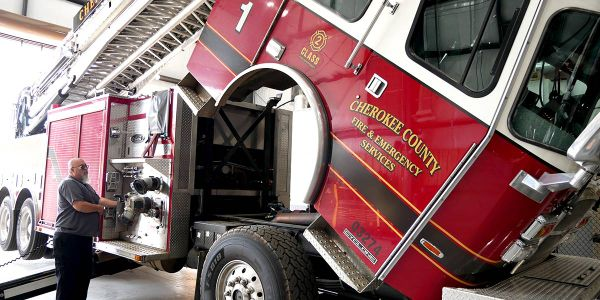 The new Fleet building allows fire apparatuses to be lifted completely for maintenance, giving...
