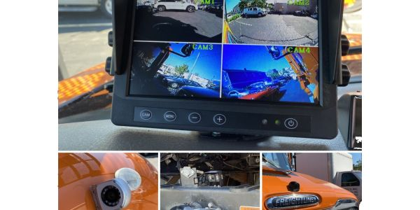 Pictured clockwise from top are the driver view of the cameras, front camera, back camera, and...