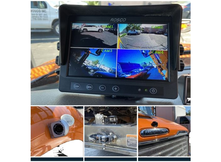 Pictured clockwise from top are the driver view of the cameras, front camera, back camera, and side camera. - Photos: NYC DCAS