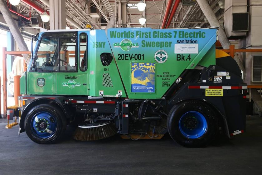 NYC Dept. of Sanitation Unveils Electric Street Sweeper