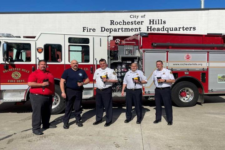 (L to R) Bullard Regional Sales Manager Mark Jetton, Training Officer Larry Gambotto, Fire Chief Sean Canto,  Battalion Chief Rogers Claussen, and Assistant Chief/Fire Marshall William Cooke accept the first delivery of Bullard TXS Thermal Imagers for Rochester Hills Fire Department. - Photo: Bullard