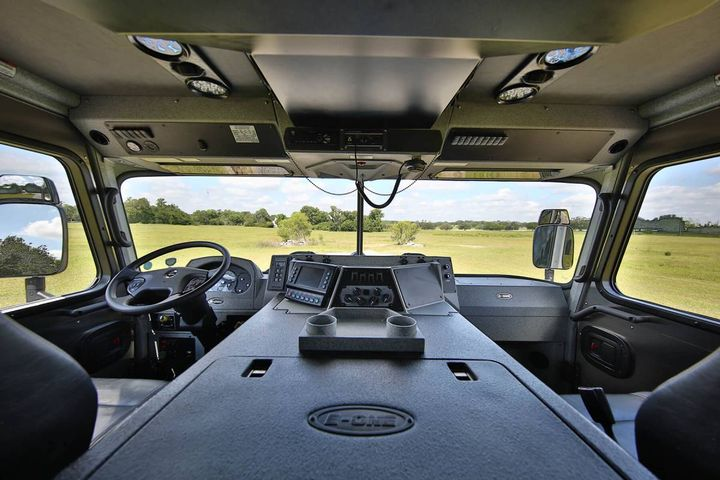 Interior of an E-ONE Cyclone custom chassis. - Photo: E-ONE