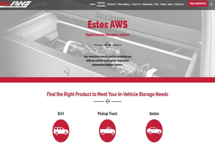 The goal behind the changes is to provide visitors and customers an easier way to learn about Estes AWS products and weapon storage solutions. - Photo:Estes AWS homepage screenshot