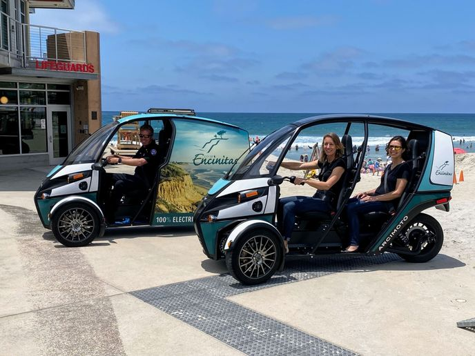 The City of Encinitas' Arcimoto vehicles are wrapped with iconic city images. - Photo: City of Encinitas