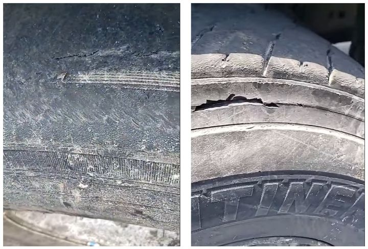Mount Vernon Mayor Shawyn Patterson-Howard showed the state of refuse truck tires in a Facebook Live video. - Screencapture: Mayor Shawyn Patterson-Howard/Facebook Live