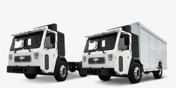 Pictured are theBattle LNT Refuse and Battle LNT Delivery trucks.