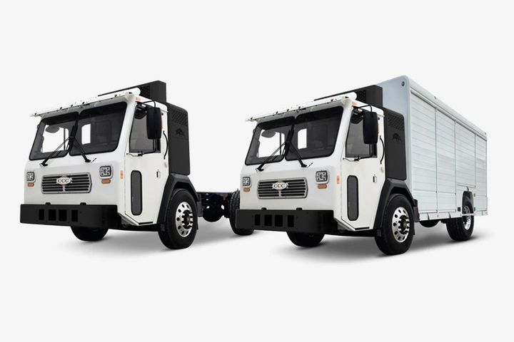 Pictured are theBattle LNT Refuse and Battle LNT Delivery trucks. - Photo: Battle Motors