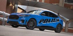The all-electric police pilot vehicle based on the 2021 Mustang Mach-E SUV will take part in the...
