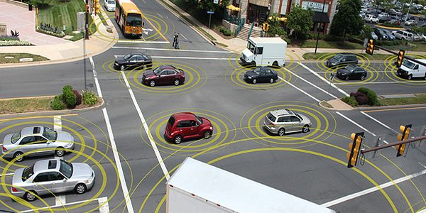 Connected vehicles can improve safety and reduce traffic congestion. Image courtesy of the U.S....
