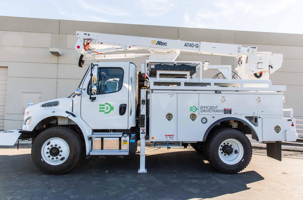 Efficient Drivetrains Unveils Plug-In Frieghtliner Utility Truck
