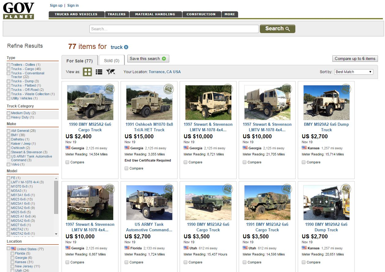 Federal DoD Vehicle Auction Set for Nov. 19
