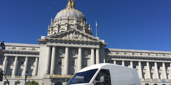 The Workhorse N-GEN electric delivery van is pictured in front of San Francisco City Hall. Photo...