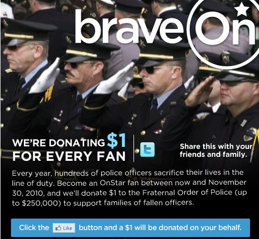 OnStar Announces Facebook 'Like' Campaign to Raise $250K for Fraternal Order of Police