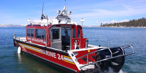 Photo of the Tahoe Douglas Fire Protection District's new firefighting boat courtesy of Lake...