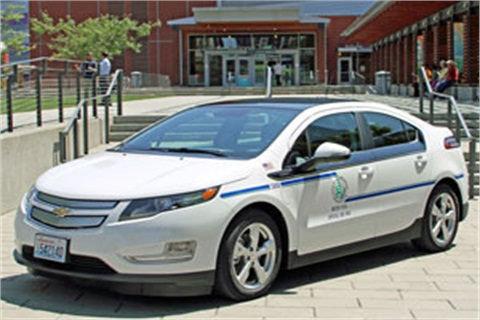 One of the new Chevrolet Volts purchased by the City of Bellevue.