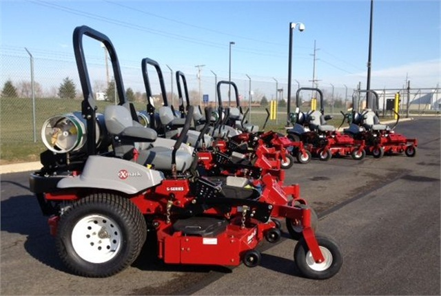 Pictured are six of the 14 propane-powered mowers the City of Columbus purchased.