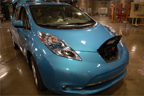 The Nissan LEAF was one of the vehicles on-site for a charging demonstration.