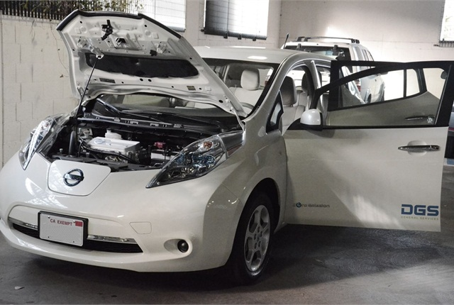 California DGS showed off its new Nissan Leaf vehicles on Dec. 20.  Photo courtesy of California DGS.