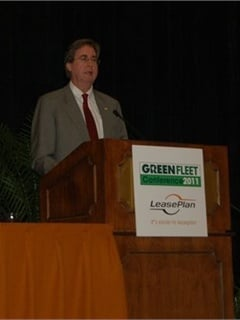 Tulsa Mayor Dewey Bartlett talks at the Green Fleet Conference.