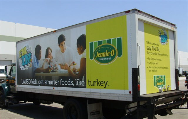 One of the LAUSD's trucks that the school district is using in its advertising program. Jennie-O is running an ad campaign as part of this program.