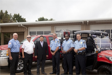 Pictured from l-r are: Brian Amerson, Wendell Fire Department captain; Tom Vaughan, Wendell Fire chief; Peter Dong Kyun Kim, CEO of Daedong-USA, Inc. KIOTI Tractor Division; Bill Carter, Wendell Police chief; Larry Franklin, Wendell police officer; and Steve Hall, Wendell police sergeant.