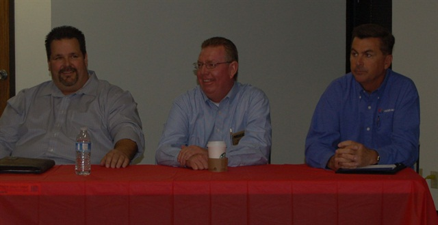Fuel management panelists from left to right are Derek Bettencourt of SC Fuels, Russ Whelan of FuelMaster, and Brian McDonough of Veerder-Root.
