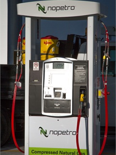 The fueling station has three dispensers, with the ability to dispense fuel to six vehicles at a time. Photo courtesy of Nopetro.