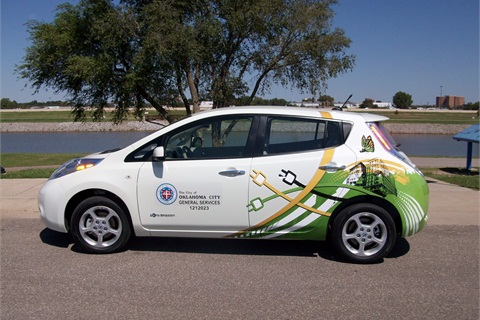 One of two new Nissan Leaf electric vehicles that Oklahoma City is running as part of a pilot program.