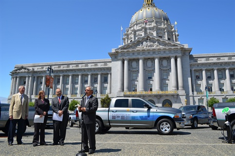 """""""We are excited to work with Chrysler to put these 14 plug-in hybrid electric pickup trucks to the test,"""" said San Francisco Mayor Edwin Lee. Photo courtesy City of San Francisco Mayor's Office."""